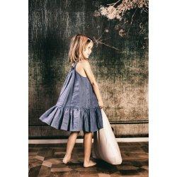 Pufa dla dzieci trójkątna z płatkami sosny - granat