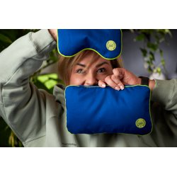"Travel pillow with pine flakes 28x17cm - lime/lime/blue - Collection of ""Krystyno nie denerwuj matki"""