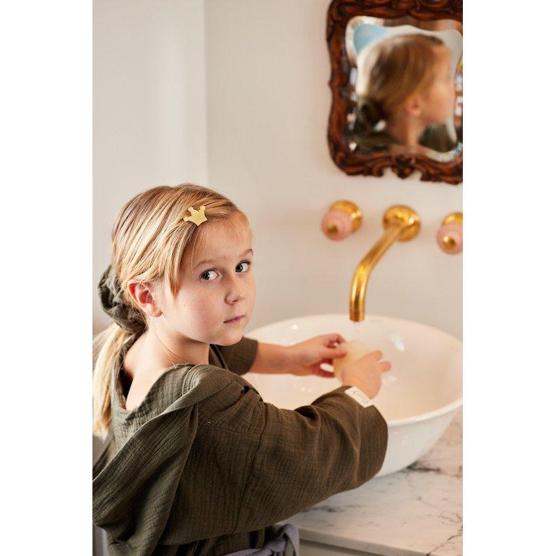 Muslin Kids Bathrobe - khaki