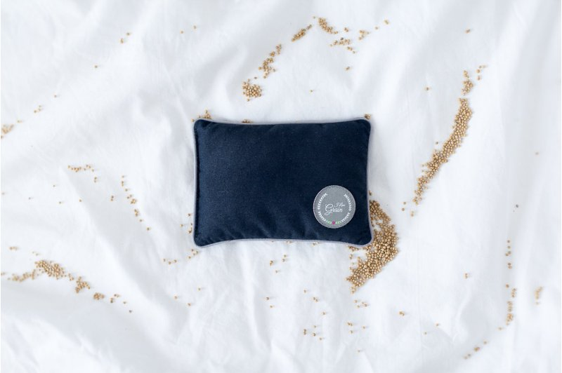 MINI PILLOW WITH MUSTARD SEEDS DARK BLUE/GREY