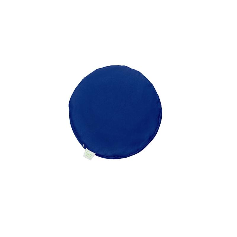 Pufa okrągła duża z łuską gryki - niebieski/limonka