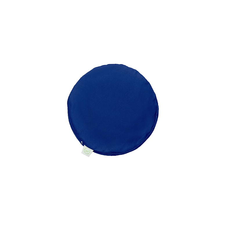 Pufa okrągła duża z łuską orkiszu - niebieski/limonka