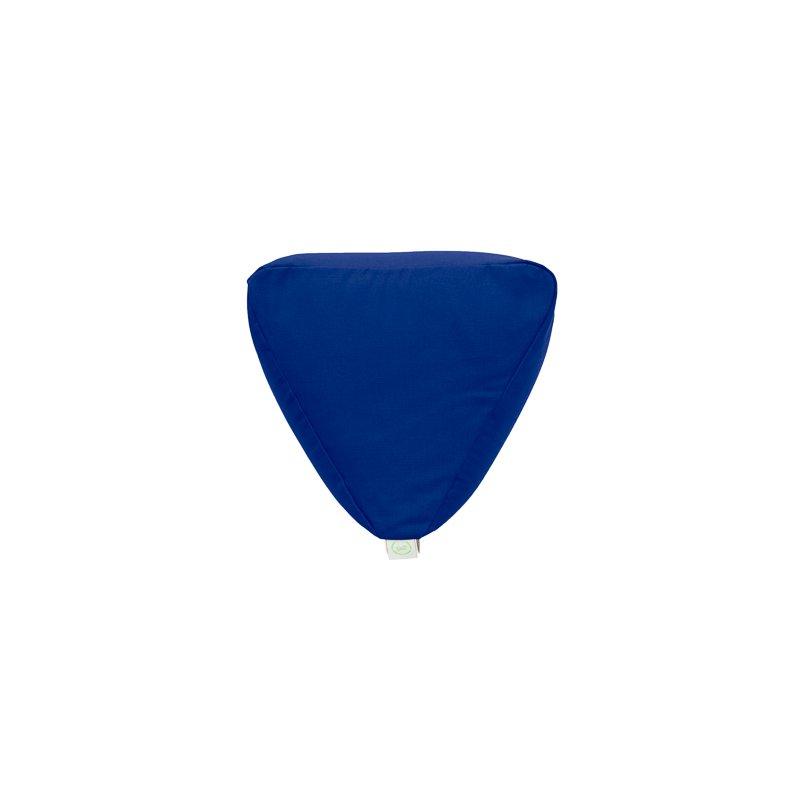 Pufa trójkątna mała z płatkami sosny - niebieski/limonka