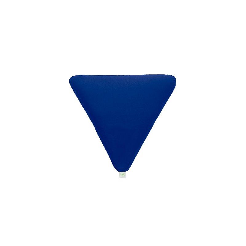 Pufa trójkątna duża z płatkami sosny - niebieski/limonka