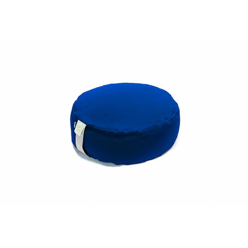 Pufa okrągła mała z łuską orkiszu - niebieski/limonka