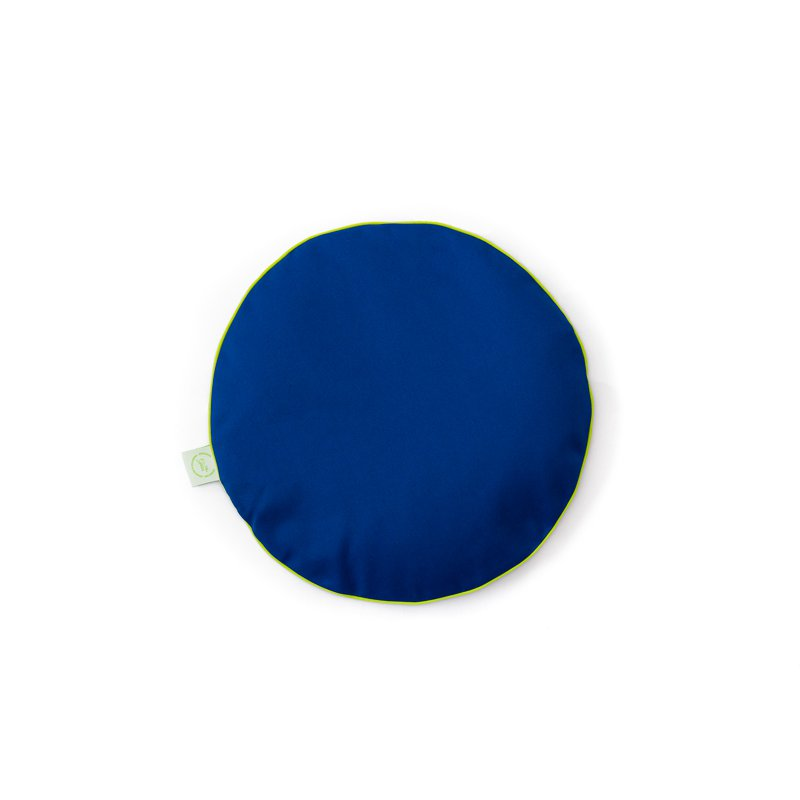 Chair pad with mustard seeds - blue/lime