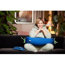 Poduszka do siedzenia z pestkami wiśni - limonka/niebieski