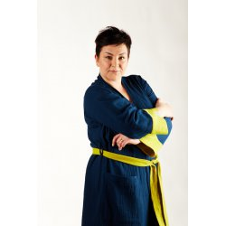 Womens Dressing - Gown - dark blue/lime