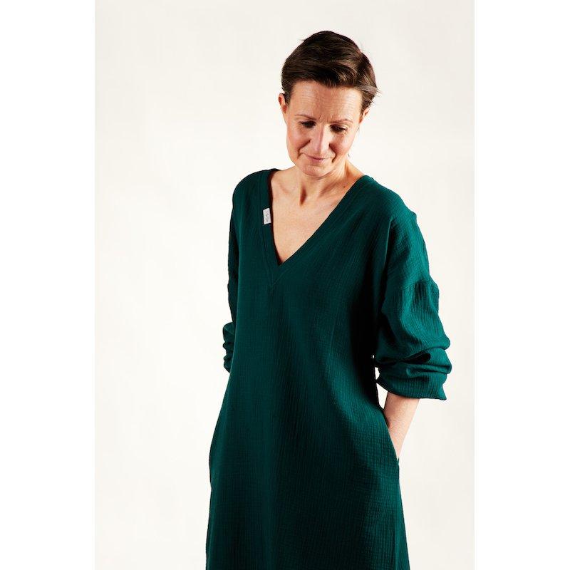 Damska koszula nocna - ciemna zieleń
