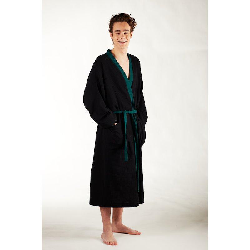 Men's Dressing - Gown - black/dark green