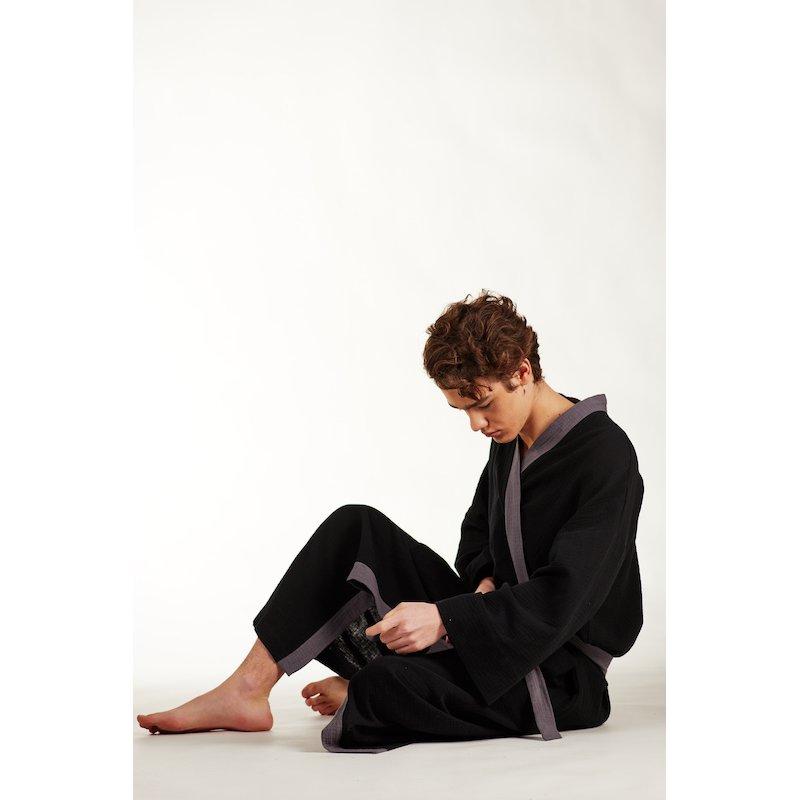 Men's Dressing - Gown - black/grey