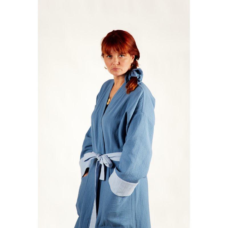Damski szlafrok muślinowy - niebieski