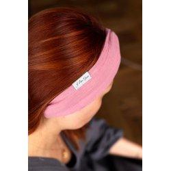 Muślinowa opaska na włosy damska – pudrowy róż