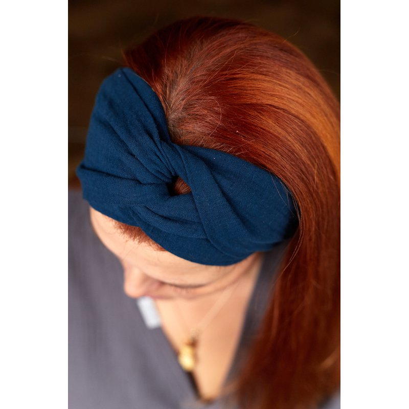 Muślinowa opaska na włosy damska – granat