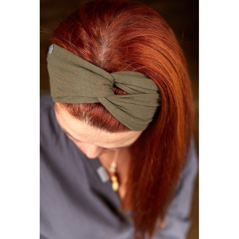 Muslin hairband for women – khaki