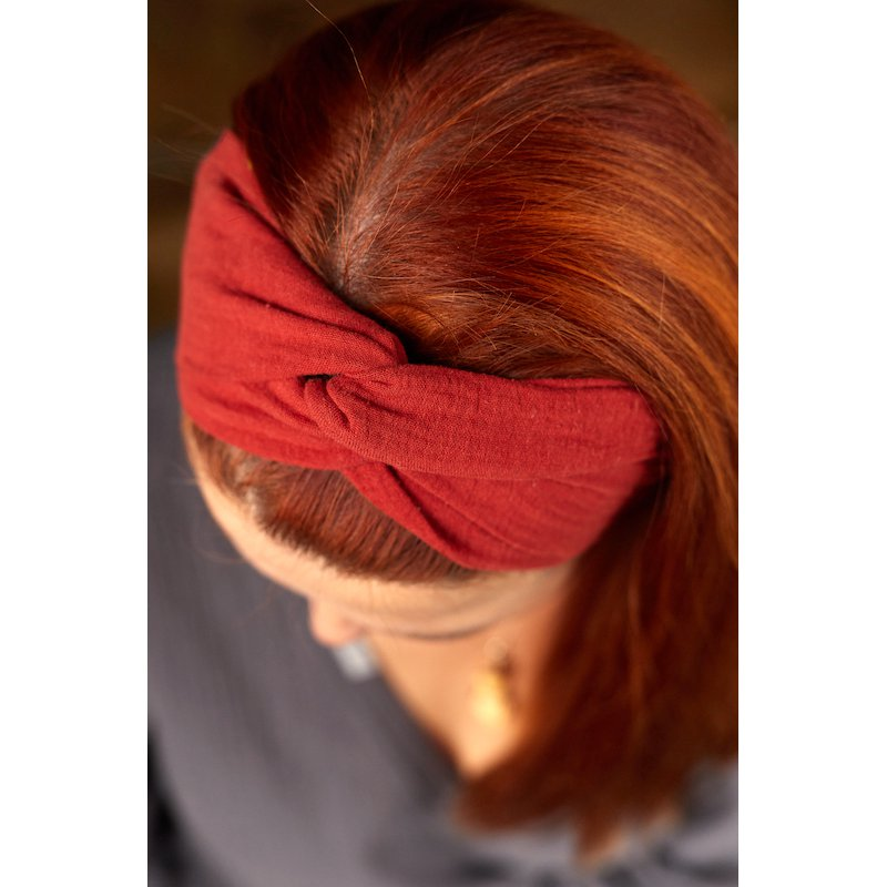 Muślinowa opaska na włosy damska – ruda