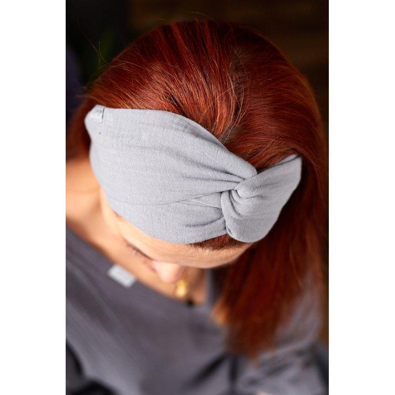 Muslin hairband for women – light grey