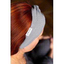 Muślinowa opaska na włosy damska – jasny szary