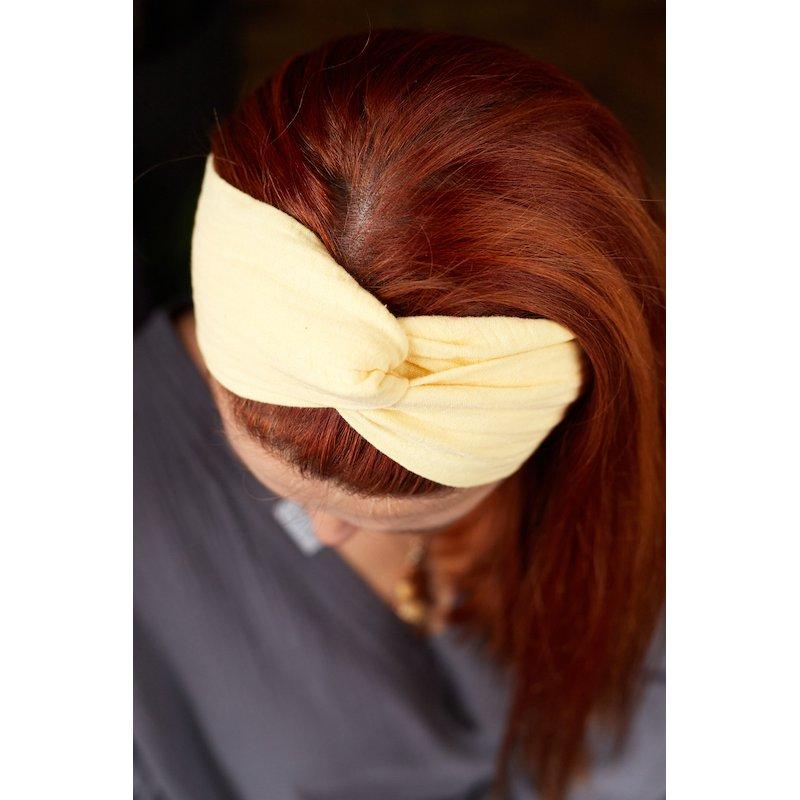 Muślinowa opaska na włosy damska – kanarkowa