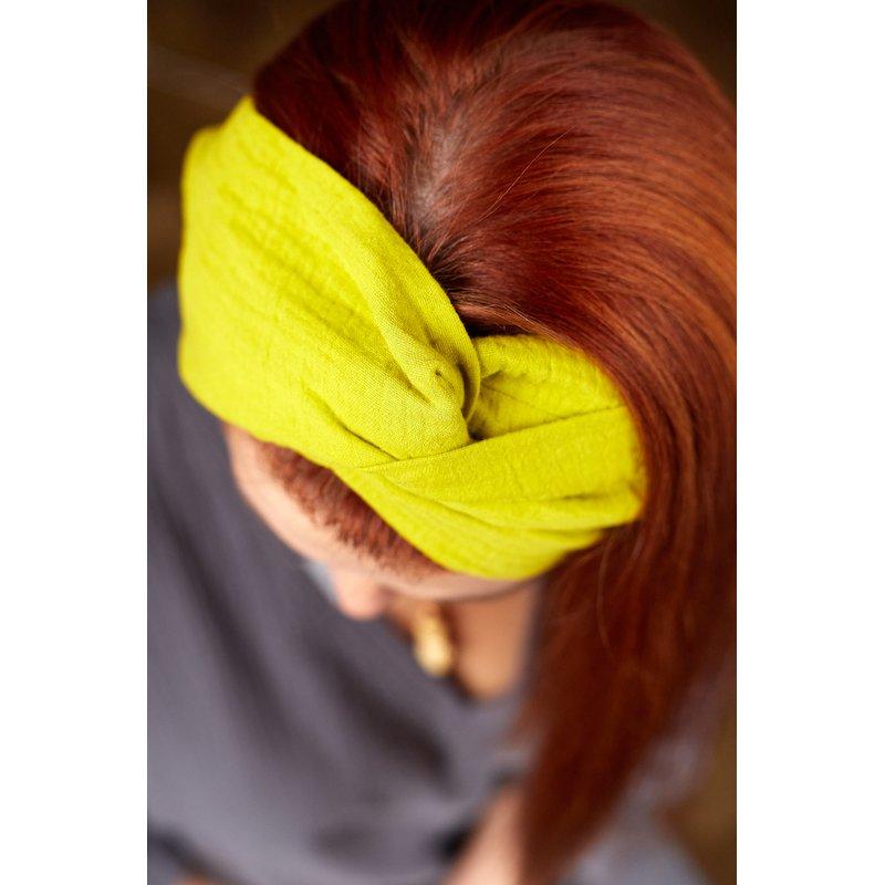 Muślinowa opaska na włosy damska – limonka