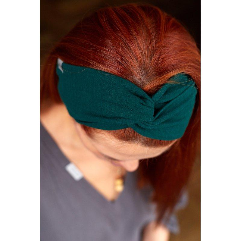 Muślinowa opaska na włosy damska – ciemna zieleń