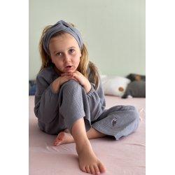 Muslin hairband for kids – light grey