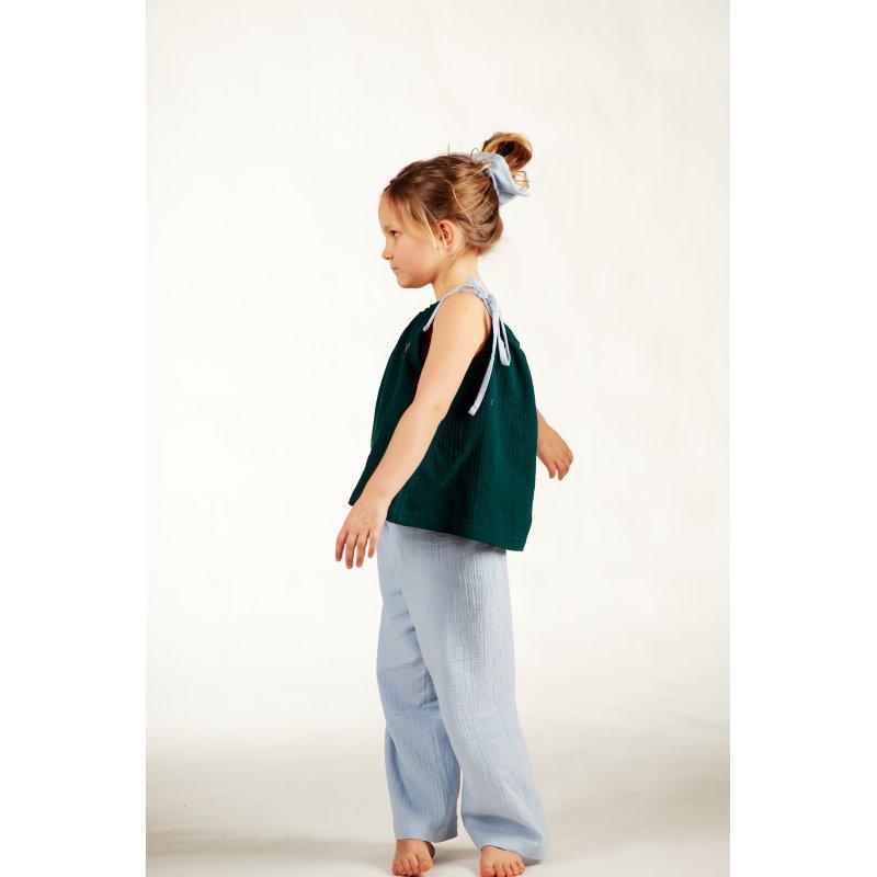 Dziecięca piżamka na ramiączkach z długimi spodniami – ciemna zieleń/błękit