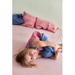 Dziecięca piżamka na ramiączkach z długimi spodniami – pudrowy róż/niebieski