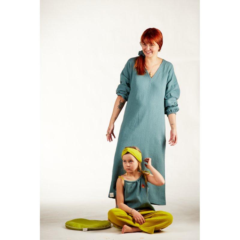 Dziecięca piżamka na ramiączkach z długimi spodniami – turkus/limonka