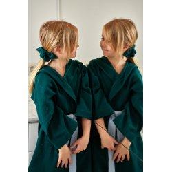 Dziecięcy szlafrok muślinowy - ciemny zielony