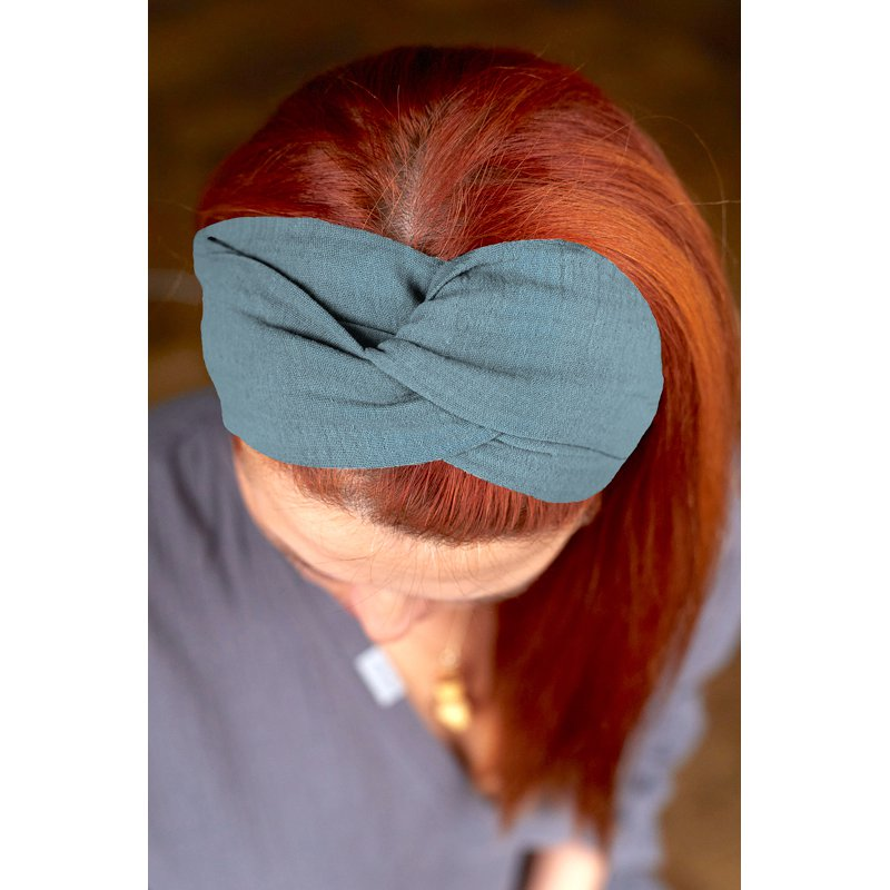 Muslin hairband for women – turquoise