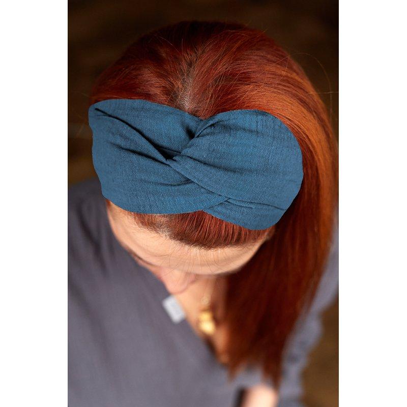 Muslin hairband for women – blue