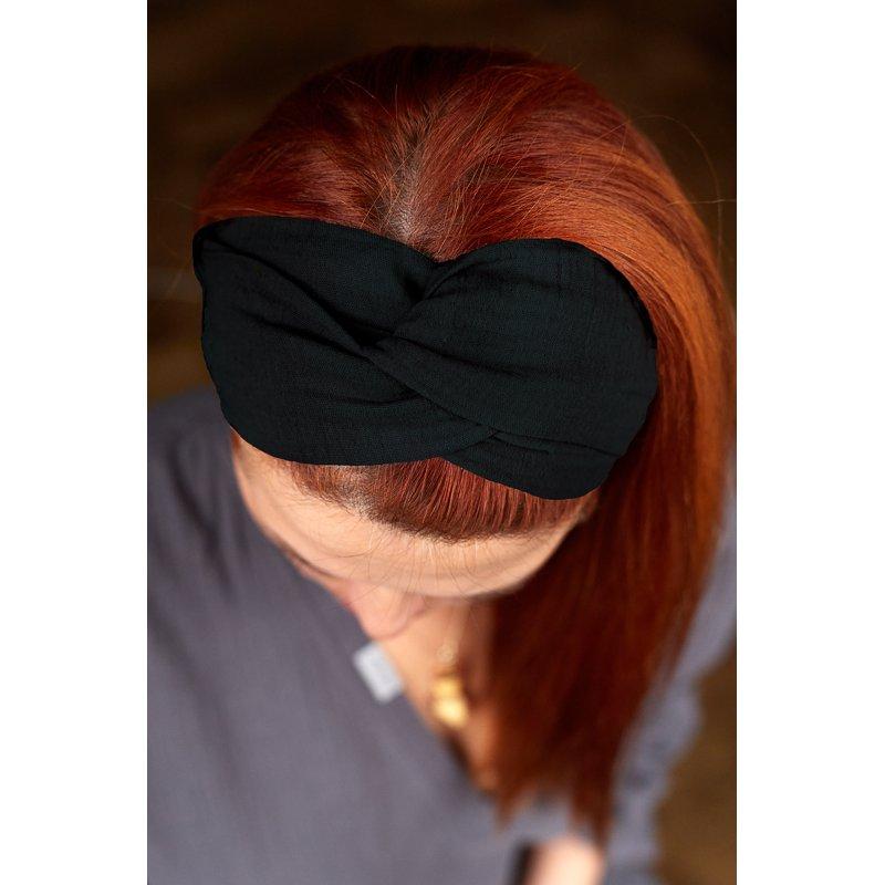 Muslin hairband for kids – black