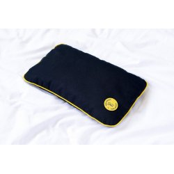 TRAVEL PILLOW WITH EMMER HUSK YELLOW/YELLOW/DARK BLUE