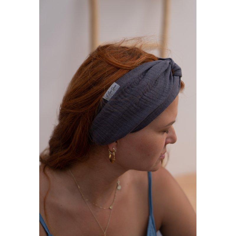Muslin hairband for women – dark grey
