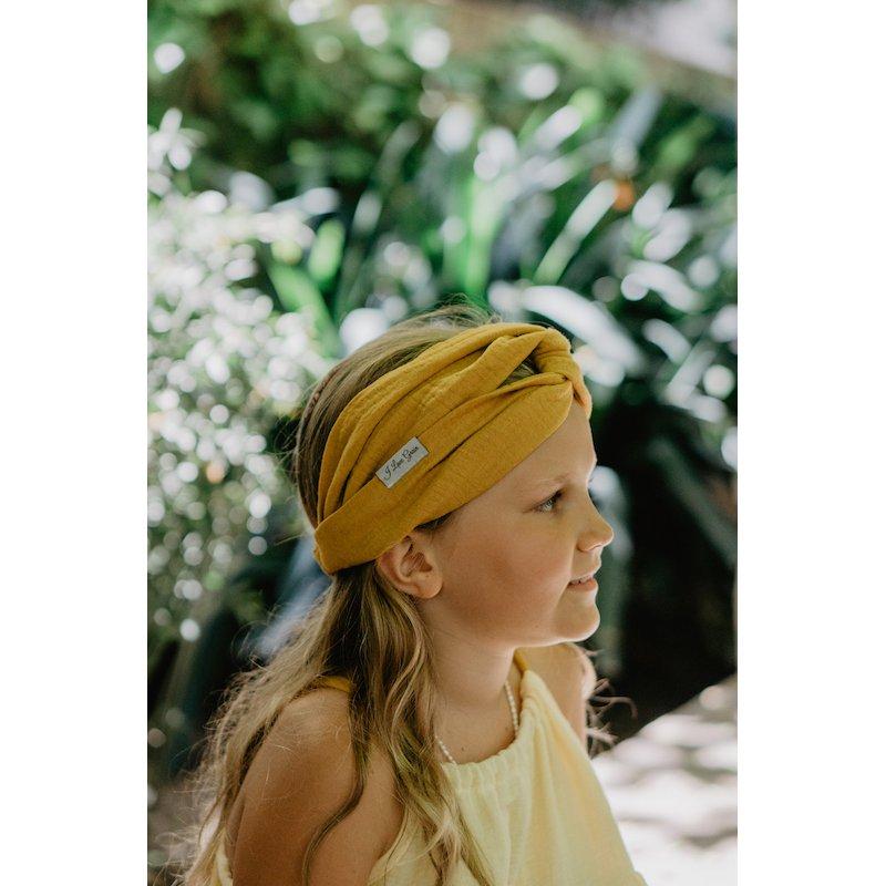 Muślinowa opaska na włosy dla dzieci – mango