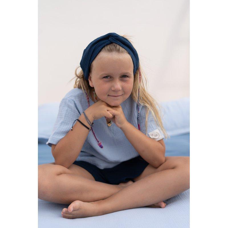 Muślinowa opaska na włosy dla dzieci – granat