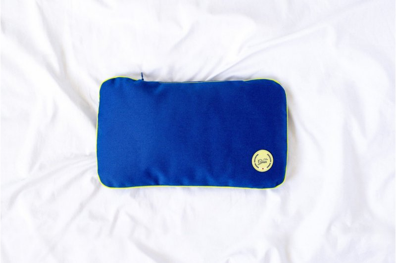 """Travel pillow with millet hull 28x17cm - lime/lime/blue - Collection of """"Krystyno nie denerwuj matki"""""""