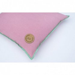 LINEN CUSHION WITH BUCKWHEAT HUSK 40x40 PINK/CELADON