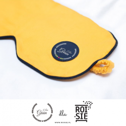 """Jet Lag eye mask with lavender - yellow/dark blue/dark blue - we support bees with """"ROI SIĘ"""""""