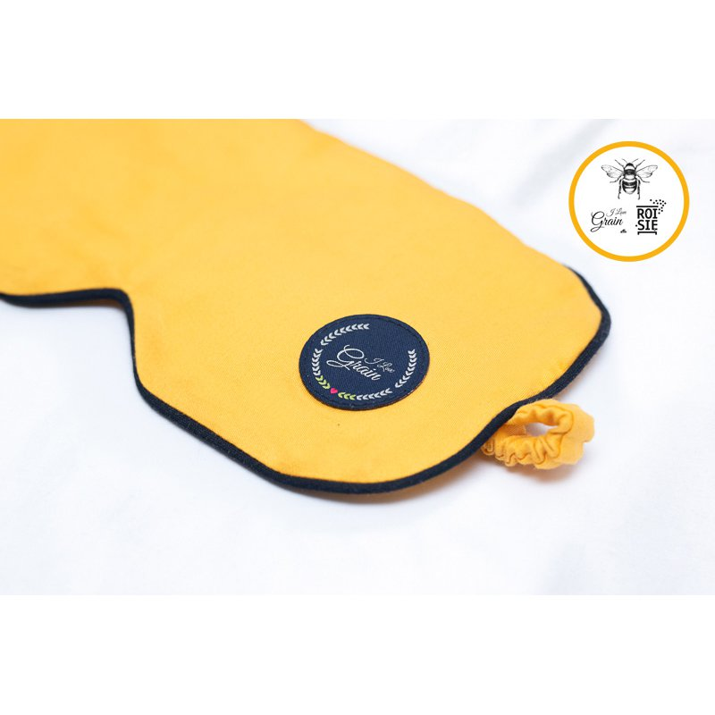 """Jet Lag eye mask with mustard seeds - yellow/dark blue/dark blue - we support bees with """"ROI SIĘ"""""""